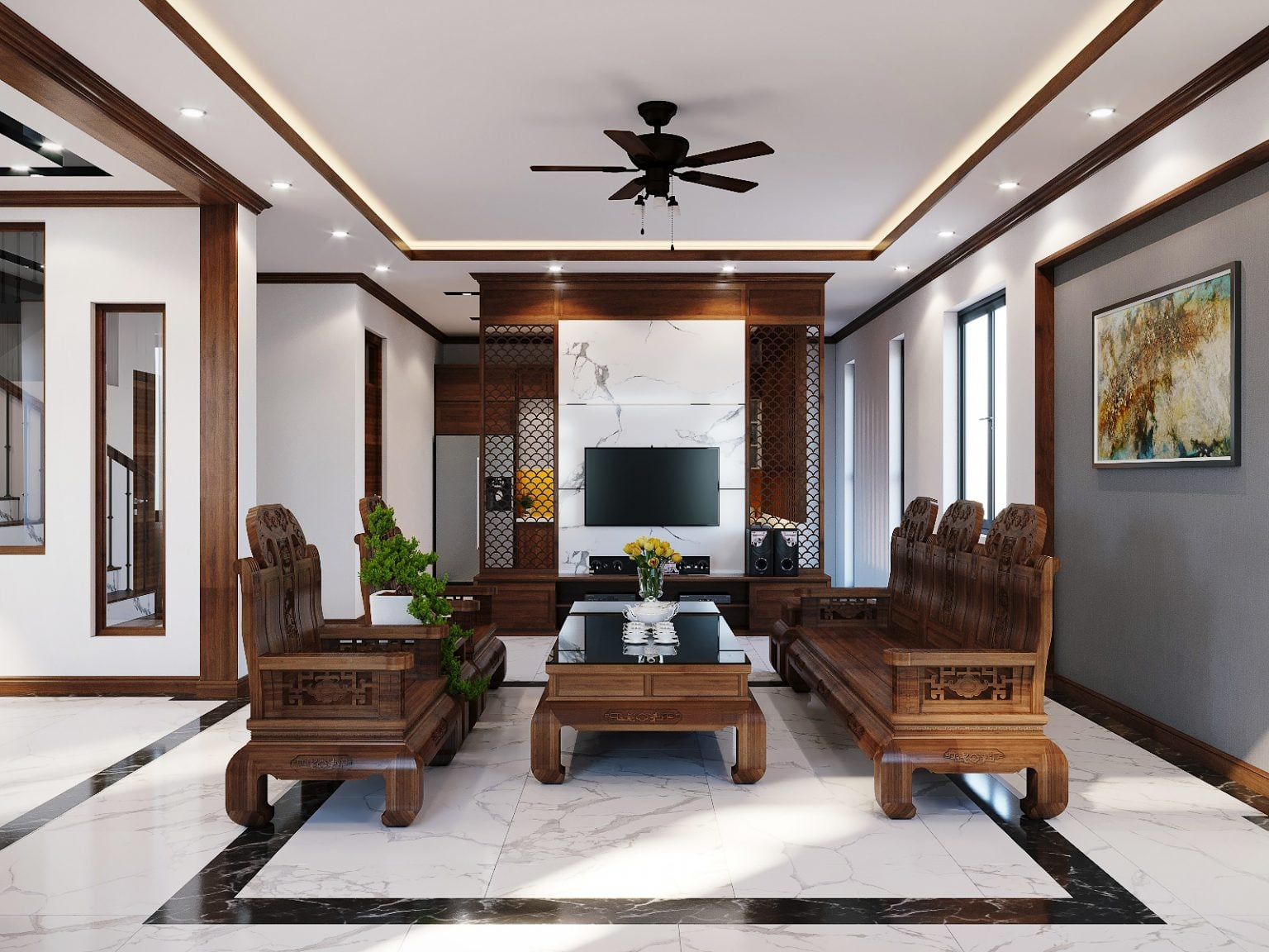 Thiết kế nội thất hiện đại nhà cô Ngân