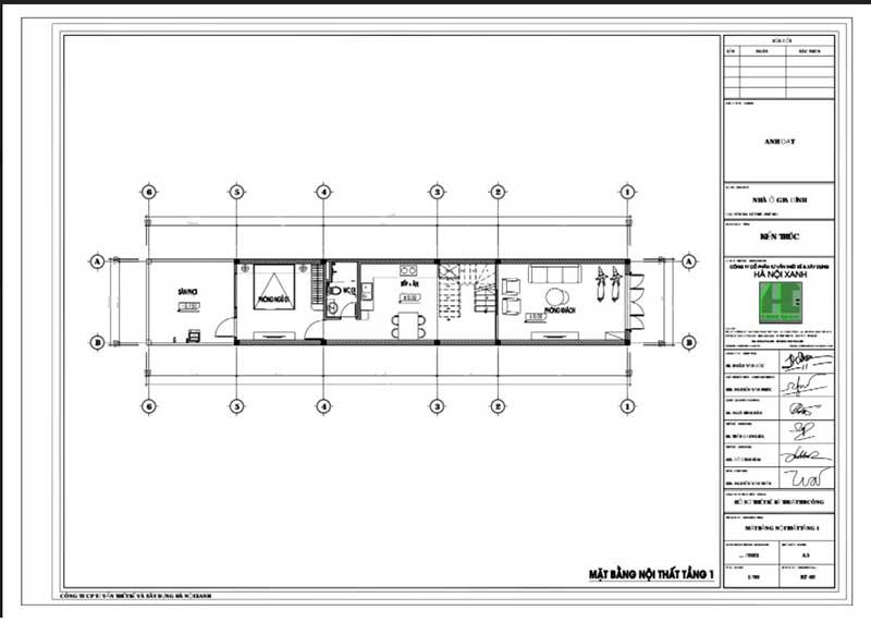 Mặt bằng CAD nội thất tầng 1