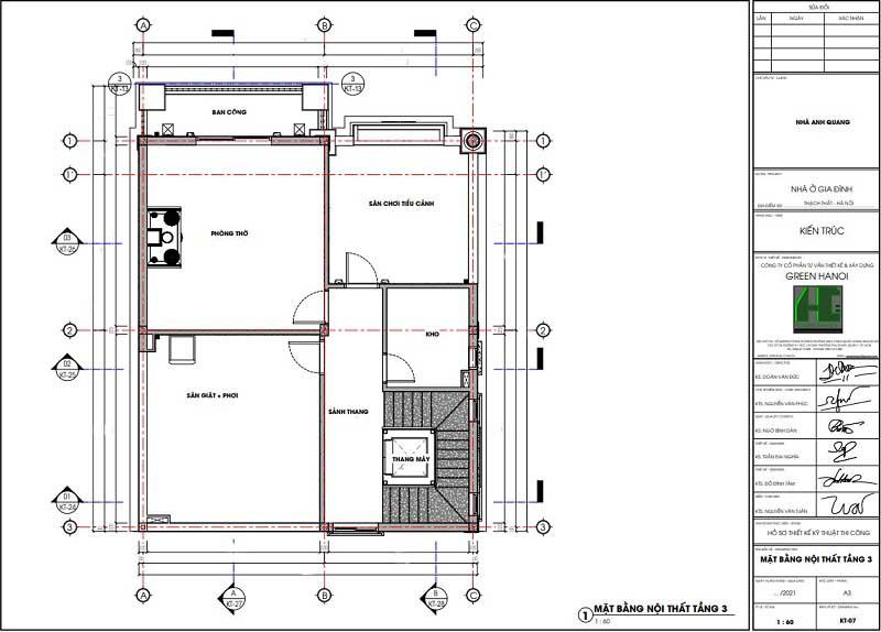 Mặt bằng CAD nội thất tầng 3