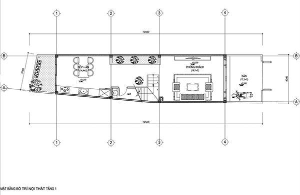 Bản vẽ mặt bằng bằng bố trí nội thất tầng 1