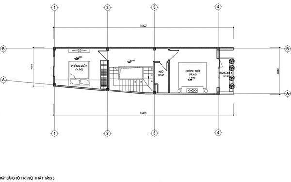 Bản vẽ mặt bằng bằng bố trí nội thất tầng 3