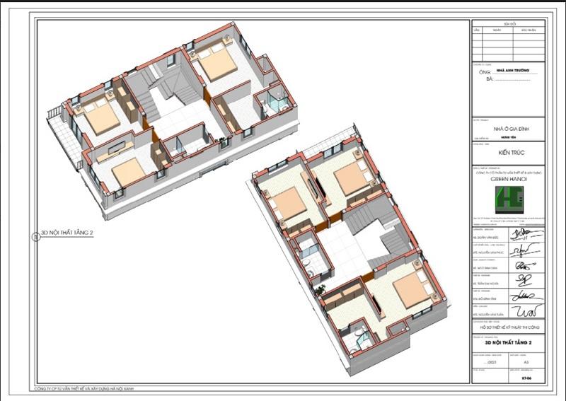 Mặt bằng 3d nội thất tầng 2