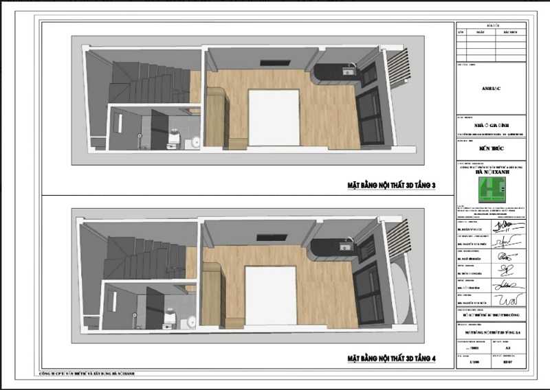 Mặt bằng nội thất 3d tầng 3 và tầng 4