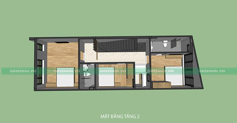 Mô hình thiết kế tầng 2 nhà anh Sơn