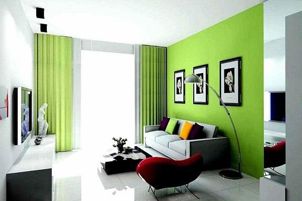 Phòng khách hiện đại mà vẫn gần gũi thiên nhiên với sự kết hợp giữa xanh lá và màu trắng