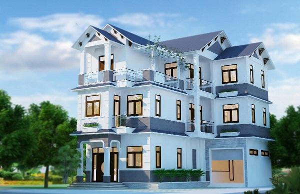 Sự kết hợp giữa 2 tone màu xanh với độ đậm nhạt khác nhau tạo nên một ngôi nhà sang trọng và hiện đại