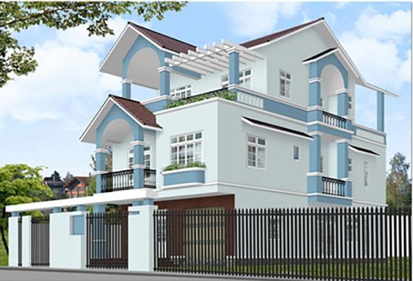 Tone màu xanh dương giúp cho ngoại thất ngôi nhà thêm gần gũi với thiên nhiên
