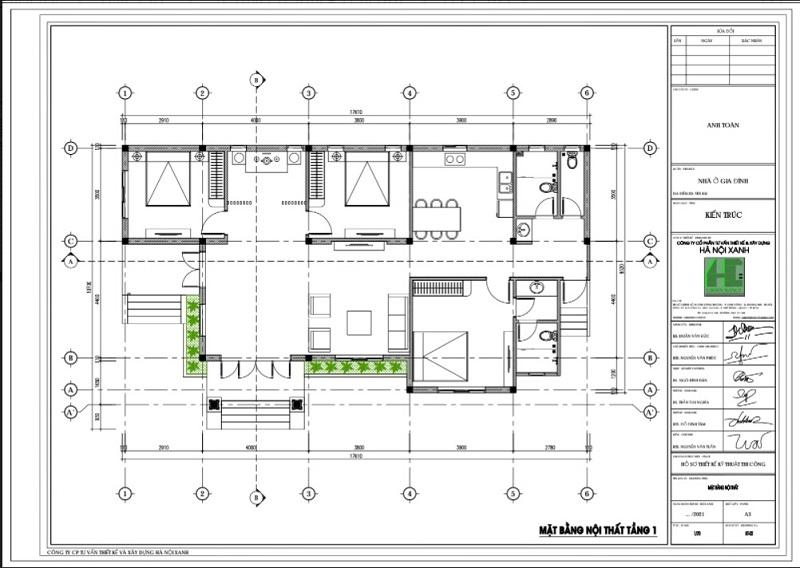 Ảnh mặt bằng CAD nội thất nhà cấp 4 mái thái nhà anh Toàn ở Yên Bái