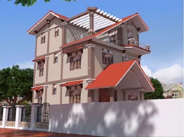 Phối màu nâu và màu đỏ cho ngoại thất ngôi nhà mang đến sự mới lạ, khác biệt