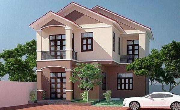 sử dụng màu hồng nhạt cho ngoại thất ngôi nhà